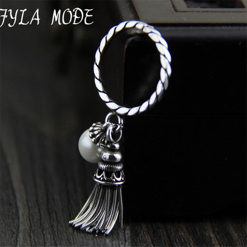 Fyla Mode Real 925 Sterling Silver Rings for Women Statement Cuff Tassel Ring Sterling Silver Jewelry