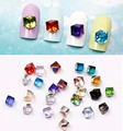 10pcs 4mm water cube rhinestone gem flat glass diamond crystal cube loose beads nail sticker accessories Crystal Square diy tool