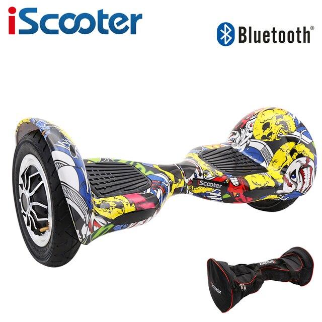 Iscooter ХОВЕРБОРДА 10 дюймов Bluetooth 2 колеса, Электрический скутер два Smart колеса gyroscooter 10 ''Скейтборд Доска с дистанционным