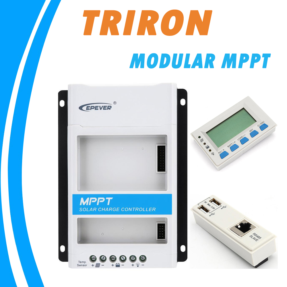 EPEVER TRIRON MPPT 30A 20A 10A Solare Regolatore di Carica 12 v 24 v Auto Nero-luce LCD Modulare Solare regolatore Negativo di Messa A Terra