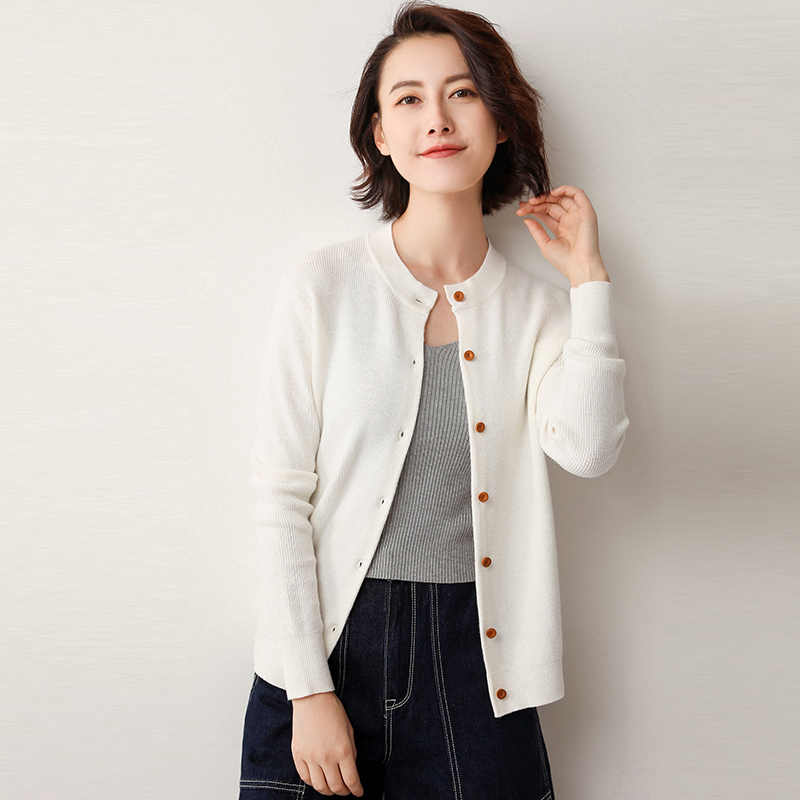 Autumn Tops Women Jackets Simple Cardigan Spring Comfortable Open Stitch Coat JH