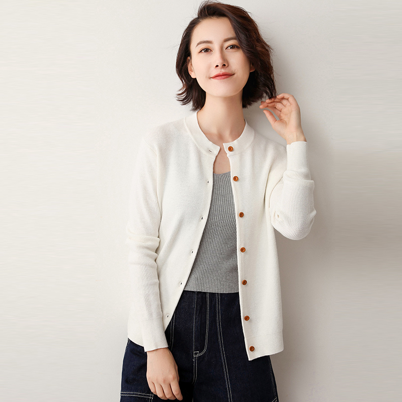 19 Spring Autumn Cardigan Women's Sweater Knit Small Coat Buttoned Outer Jacket Female Fashion