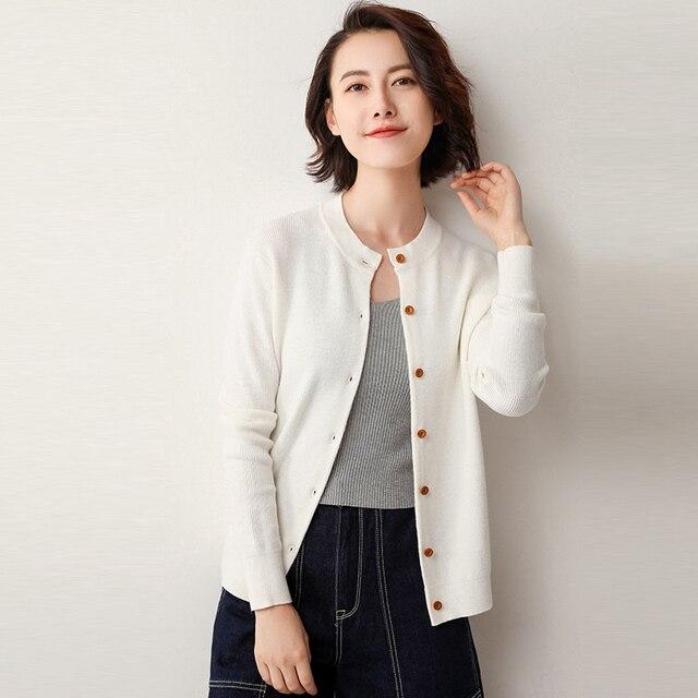 19 אביב סתיו קרדיגן נשים של סוודר לסרוג קטן מעיל מכופתר חיצוני מעיל נשי אופנה