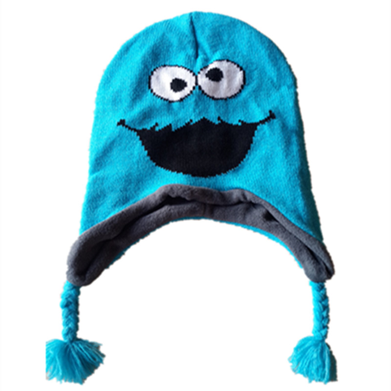 Sesame ELMO Knitting Cotton Beanie Cap Plush Winter Warm OSCAR Cookie Monster Hat Cartoon Cute Cosplay Kid Child Beanies cute cartoon bear ms qiu dong the day man with thick warm knitting wool hat sets pointed cap