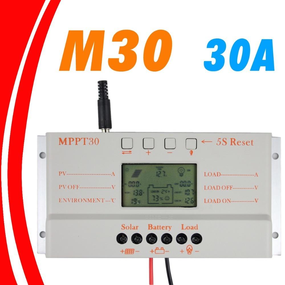 MPPT 30A LCD controlador de carga Solar 12 V 24 V auto interruptor pantalla LCD MPPT30 controlador de carga Solar MPPT 30 controlador de cargador - 2