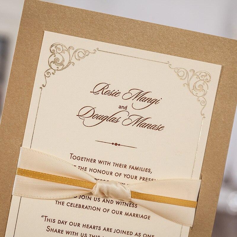 100pcs/lot Kraft Designed Wedding Invitations Cards with Bowknot ...