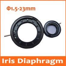 Big discount Durable 1.5-23mm Amplifying Diameter Metal Zoom Optical Iris Diaphragm Aperture Condenser for Digital Camera Microscope Adapter
