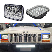 ECAHAYAKU 1 PCS 45W LED work light 7x6 Crystal Square High Low Beam H4 Projector led Headlights Cherokee Wrangler front
