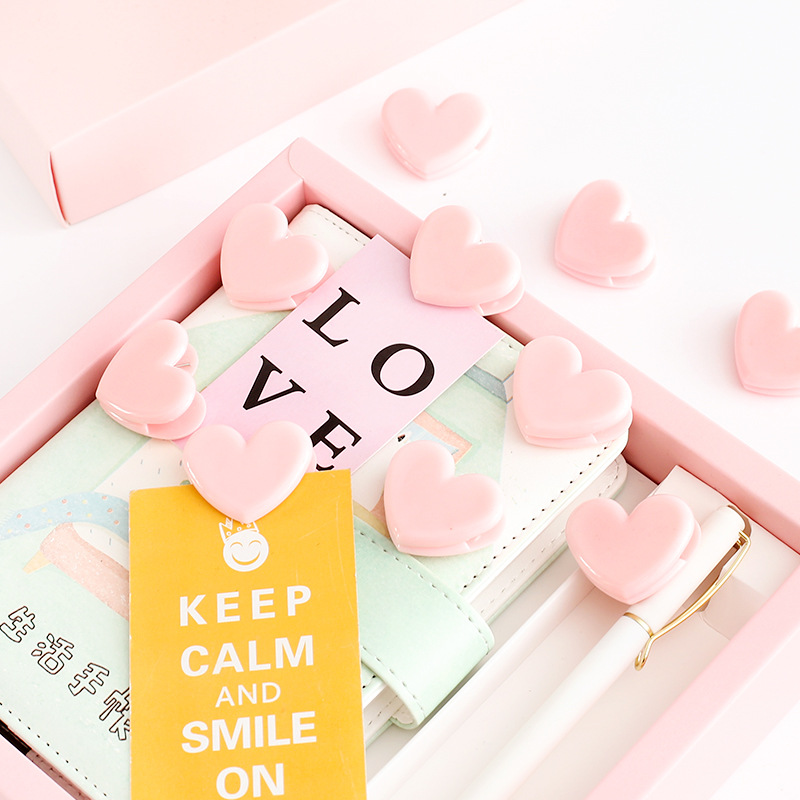 10 Pcs Pink Love Decoration Clips Cute Heart Paper Clip For Memo Photo Wedding Stationery Girl Gift Office School Supplies A6967