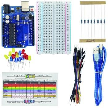 Basic Starter Kit for  for UNO R3 Breadboard Jumper Wire LED Lights USB Cable Resistor Reference Kit for  + Case