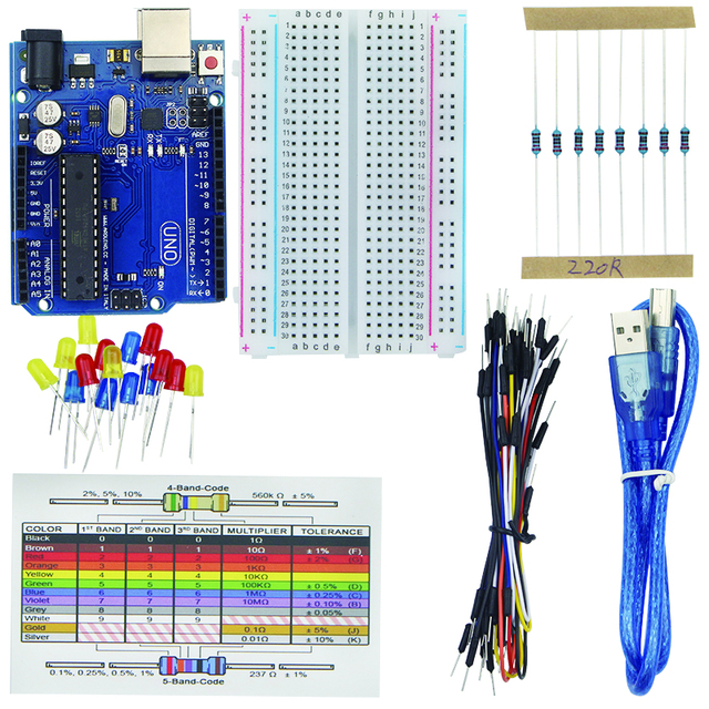 Basic Starter Kit for for UNO R3 Breadboard Jumper Wire LED Lights ...