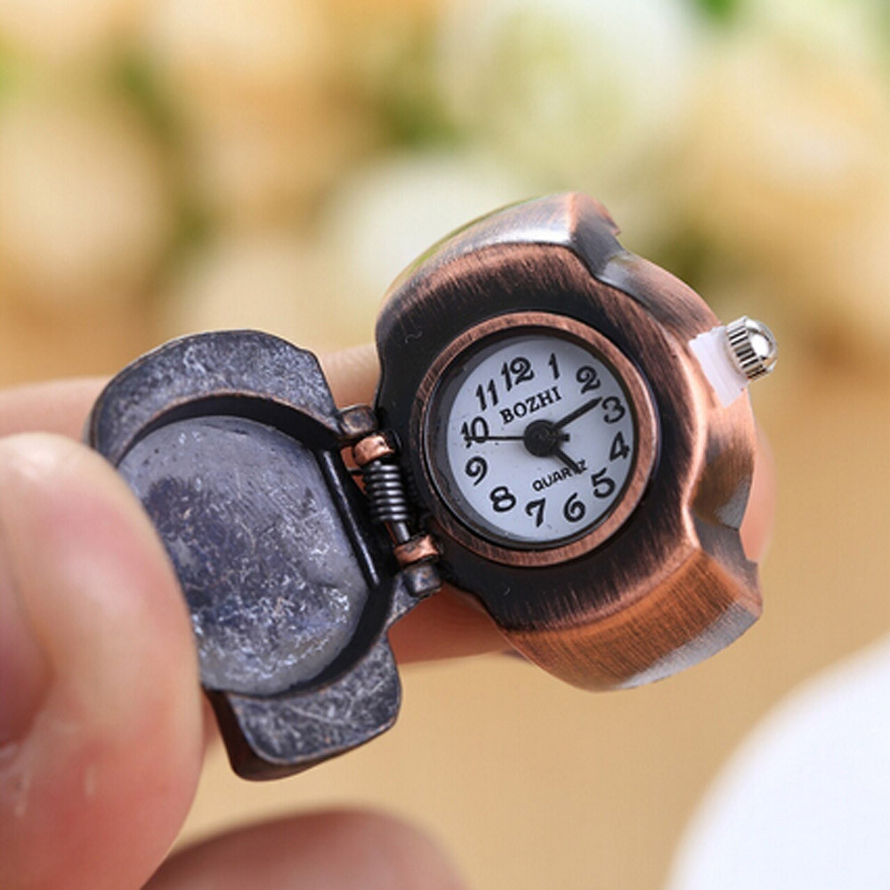 Unisex Finger Ring Watch Men Women Vintage Skull Clamshell Watches ...