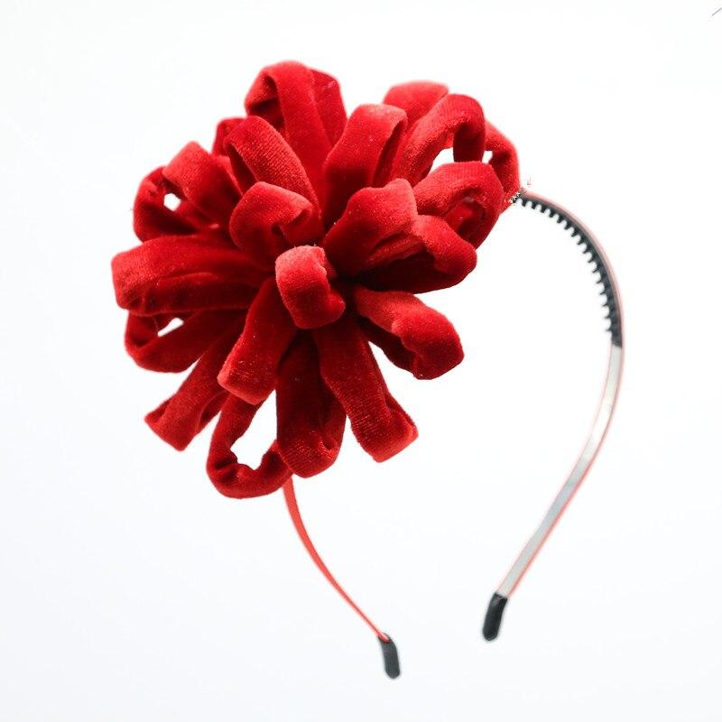 NEUE winter Samt bommel blume mädchen hairbands auf metall stirnband mit zähne kinder haar zubehör