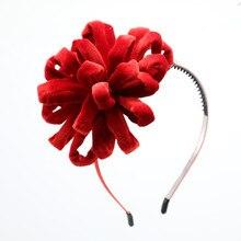 NEW winter Velvet pompom flower girls hairbands on metal headband with teeth children hair accessories