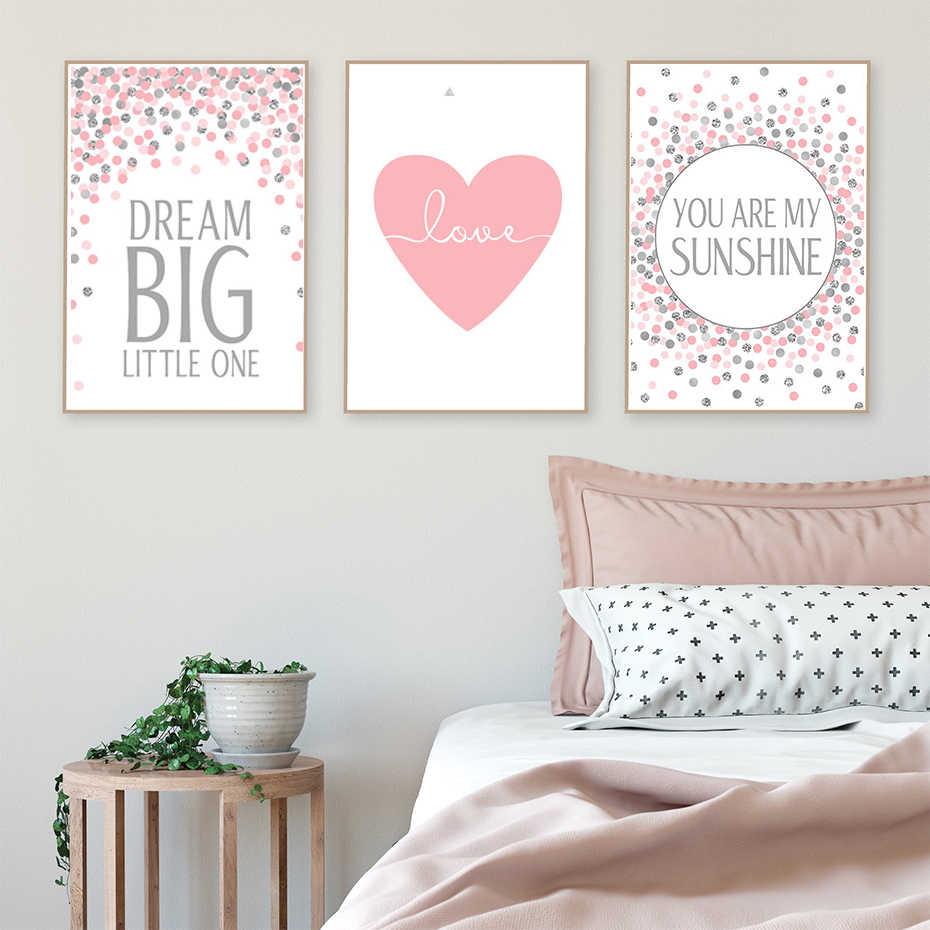 SURELIFE Pink Dream Big Little One Heart Nursery Wall Art Prints Canvas Paintings Gift Poster Pictures Girls Bedroom Home Decor