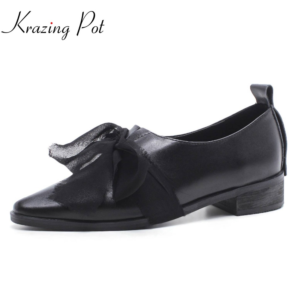 Krazing pot genuine leather slip on shoes low heel women pumps solid classic butterfly knot high street fashion shoes women L4f3