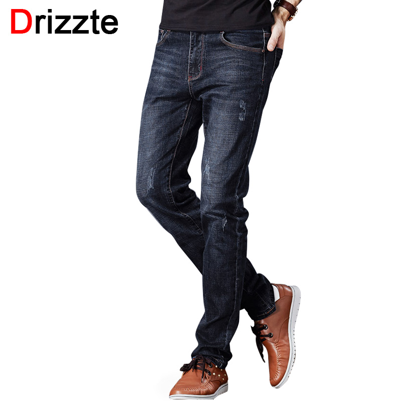 Drizzte Men's Jeans Stretch Fashion Black Blue Denim Brand Men Scratched Slim Fit Jeans Size 30 32 34 35 36 38 40 42 Pants Jean drizzte brand men stretch denim slim jeans black blue fashion trendy trousers pants size 33 34 35 36 38 40 42 for men s jean
