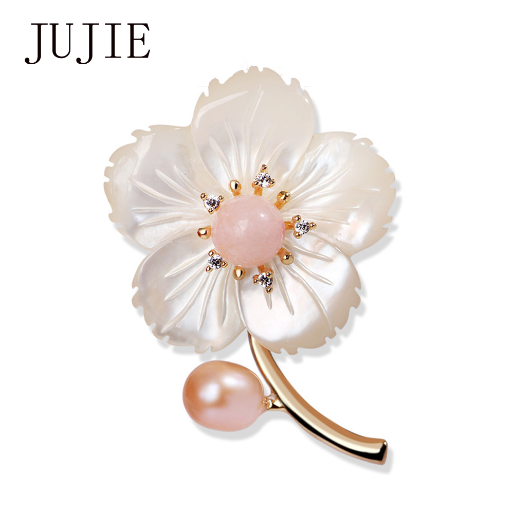 Aliexpress buy jujie fashion pearl flower brooches for women jujie fashion pearl flower brooches for women brand luxury lapel pins for wedding bouquets brooch jewelry izmirmasajfo Image collections