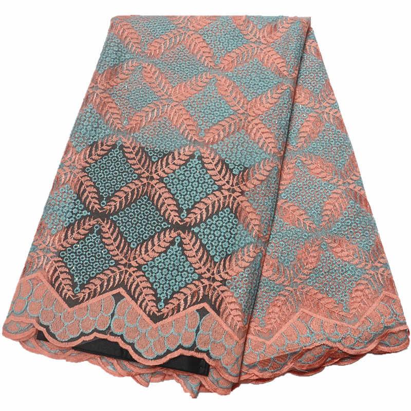 Tessuto francese del merletto di 2018 di alta qualità africano del merletto svizzero del voile tessuto di pizzo con le pietre tulle tessuti di pizzo per la cerimonia nuziale
