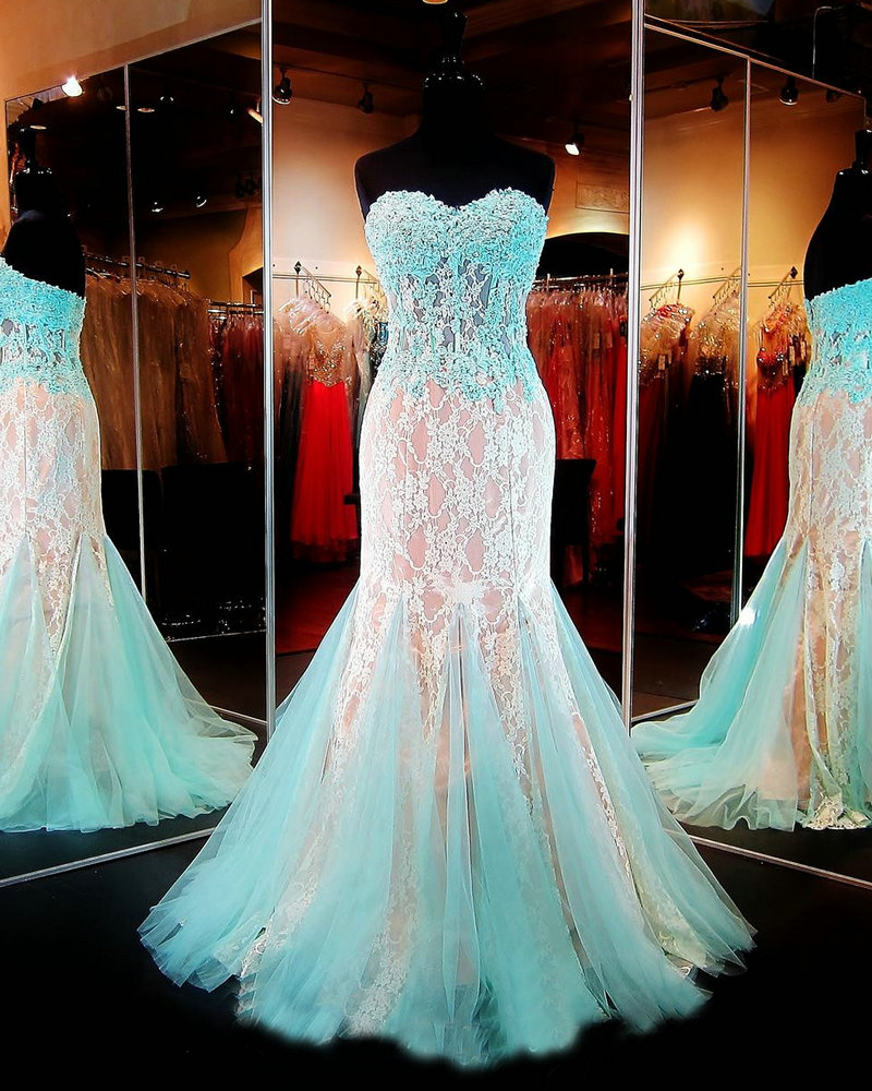 Aqua/Nude Lace Prom Dress Mermaid Evening Formal Gowns Sheer ...