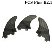 Prancha de surf fcs k2.1 barbatanas fibra de vidro favo de mel prancha fin 3 em por conjunto preto cor aletas