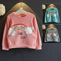 New 2016 Kids girls Boys t Shirt Fashion Spring&autumn Long-sleeved hoodies Child Cartoon clouds rainbow Casual Tee Blouse Tops