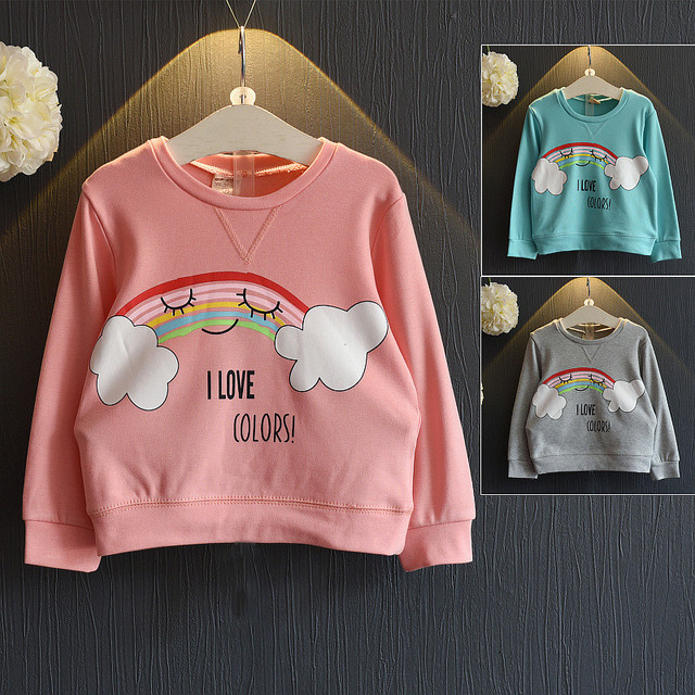 Novo 2016 Crianças das meninas dos Meninos t Camisa Moda Primavera & outono Longo-sleeved hoodies Dos Desenhos Animados da Criança nuvens do arco Casuais Tee Blusa Tops