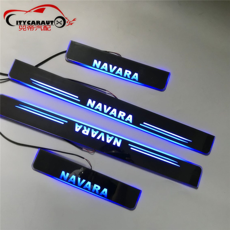 LED CAR DOOR SILL PLATE LIGHTS WELCOME LIGHT entry guards cover FIT FOR NISSAN NAVARA NP300 D23 2015 2018 4*4 AUTO ACCESSORIES