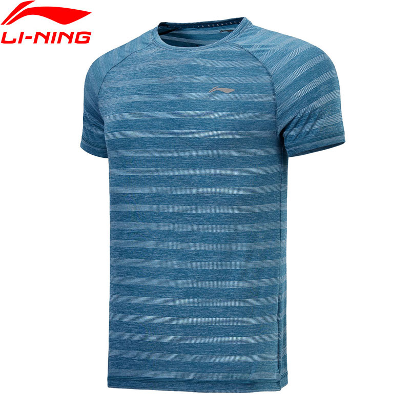 все цены на Li-Ning Men Running T-shirts 92% Polyester 8% Spandex LiNing Sports Tee Comfortable Breathable Tee Tops ATSN029 MTS2739