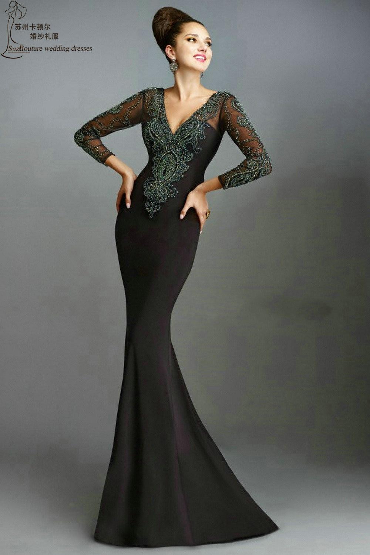Long black mermaid prom dress PM1901 elegant long sleeve prom dresses  vestidos de gala gorgeous af48fa38f