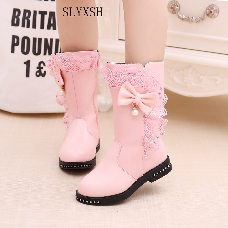 SLYXSH Autumn Winter New Girls Fashion Boots Princess Rivets Pu Leather Boots Kids Butterfly Knot Shoes Fashion Long Boot ...