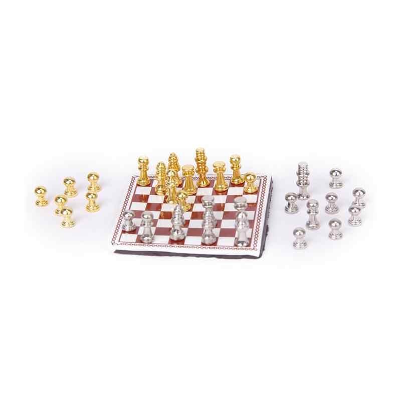 1/12 кукольный домик Миниатюрный металлический Шахматный набор серебро и золото классический ролевые игры мебель игрушки творческие Обучающие Развивающие игрушки