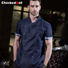 2017 summer fashion short sleeve blue denim chef jacket  quality and durable hotel kitchen cook clothes for men