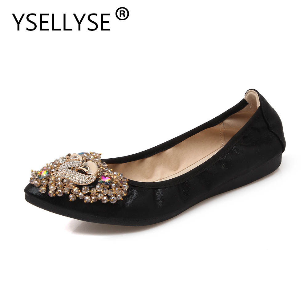 New Crystal Women Shoes Plus Size 34-45 PU Leather Shoes Hot Sale Ballet Flats Shoes Foldable Travel Shoes Pregnant Shoes brand new hot sale blue red yellow black green glossy patent leather women nude flats ladies shoes av123 plus big size 49 10 13