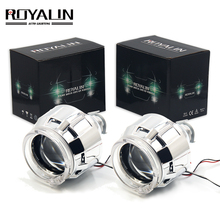 ROYALIN Halogen Lens H1 Projector Headlight with CCFL Halo Rings Angel eyes White Red Blue for H1 H4 H7 Auto Xenon Lamp DIY  все цены