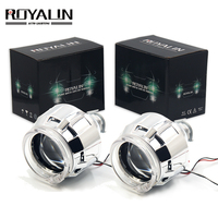 ROYALIN Halogen Lens H1 Projector Headlight Lens LED Halo Rings Angel eyes Shrouds White Red Blue for H4 H7 Car Styling HID Lamp