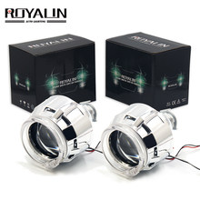 ROYALIN Halogen Lens H1 Projector Headlight Lens LED Halo Rings Angel eyes Shrouds White Red Blue for H4 H7 Car Styling HID Lamp(China)