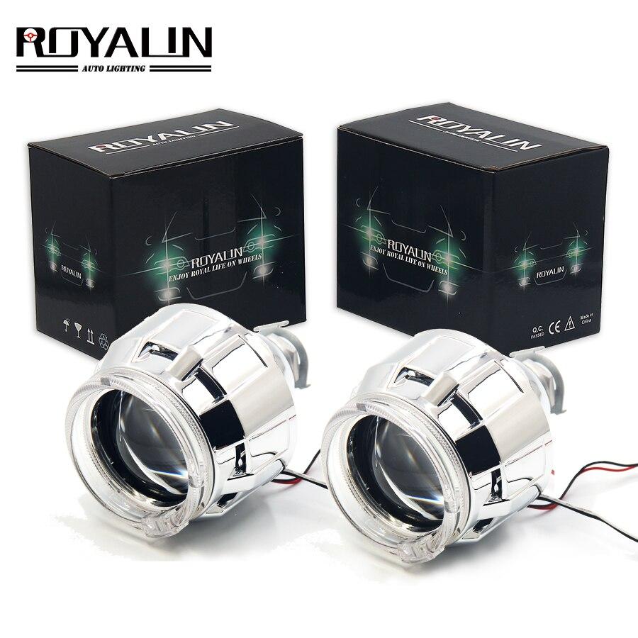 ROYALIN lentille halogène H1 projecteur phare lentille LED Halo anneaux ange yeux linceul blanc rouge bleu pour H4 H7 voiture style HID lampe