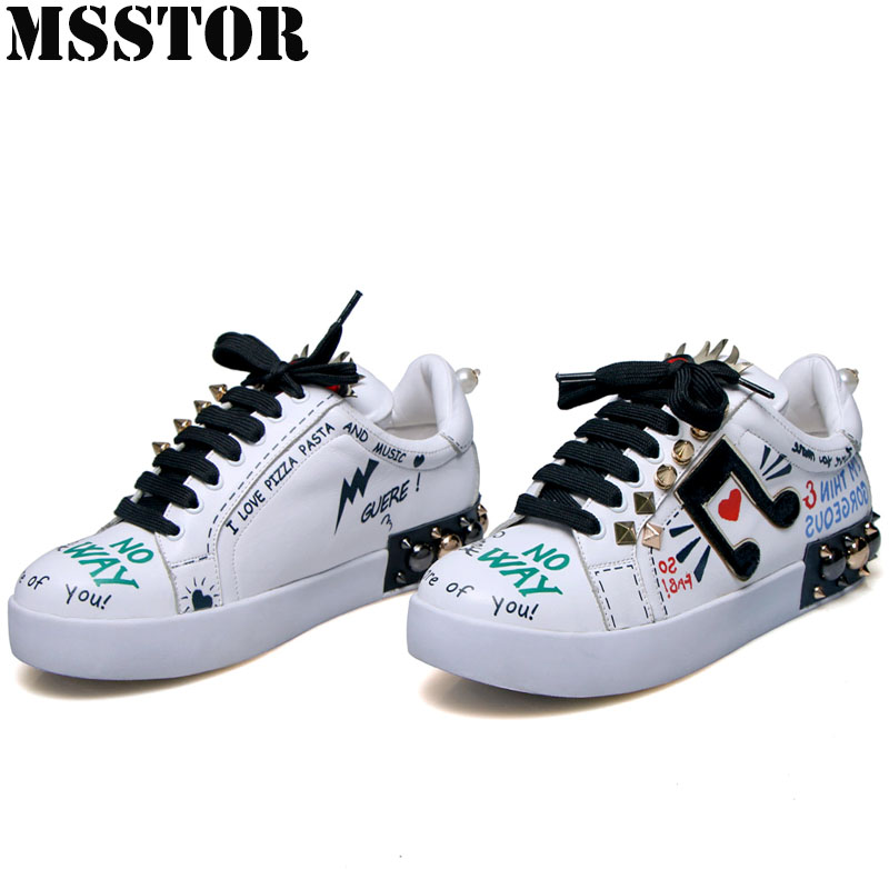 MSSTOR Women Skateboarding Shoes White Flat With Canvas Shoes Woman Brand Genuine Leather Womens Sneakers Walking Sport Shoes cross training shoes walking arder shoes for women leather sport shoes soled sneakers allmatch students flat shoes fitness