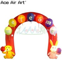 mini led lighting inflatable balloon arch with cute bear and rabbit for kids party and birthday