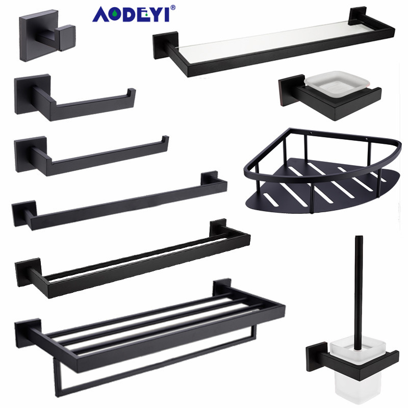 AODEYI Bathroom Hardware Set Black Robe Hook Towel Rail Rack Bar Shelf Paper Holder Toothbrush Holder Bathroom AccessoriesAODEYI Bathroom Hardware Set Black Robe Hook Towel Rail Rack Bar Shelf Paper Holder Toothbrush Holder Bathroom Accessories