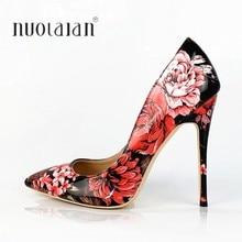 8590f66f Zapatos de mujer de moda tacón 12 cm/10 cm/8 cm de alto tacón bombas de las  mujeres Floral Impresión de cuero de patente señoras.