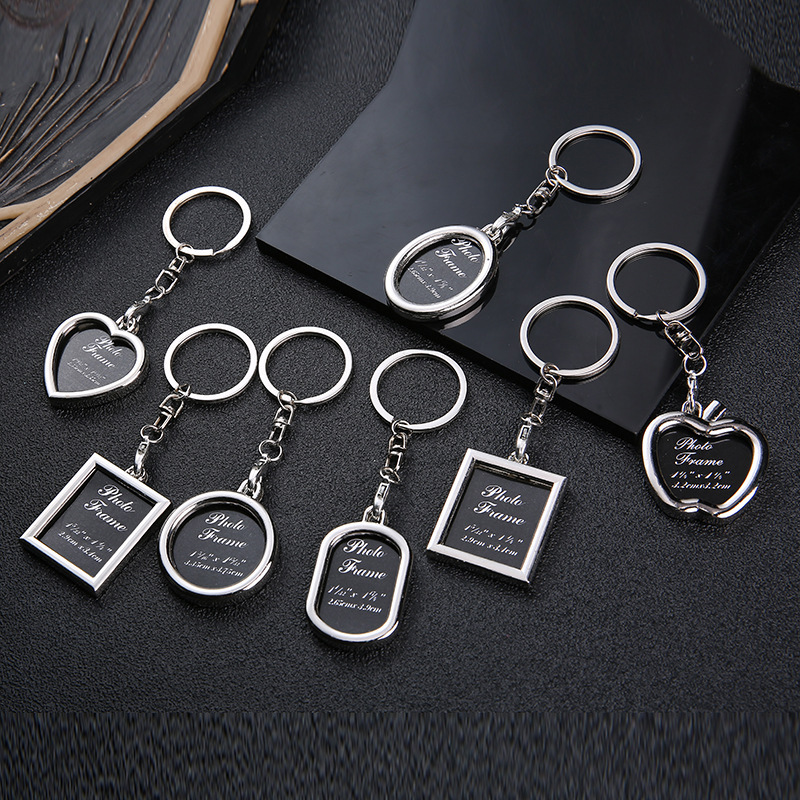New Creative Couple Photo Frame Keychain Heart-shaped Personality Photo Key Ring Love Key Chain Commemorative Gift