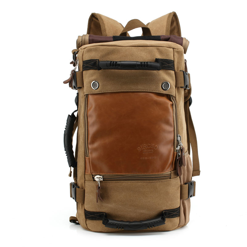 2019 New Outdoor Travel Large Capacity Canvas Backpack Mens Laptop Backpacking Shoulder bag