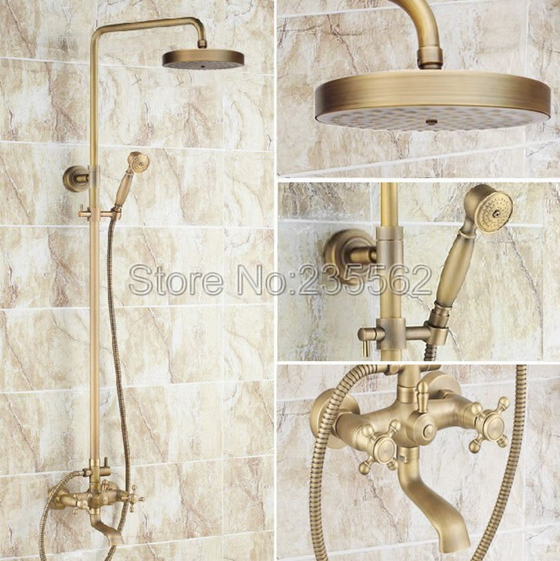 Classic Bathroom Rainfall Shower Faucet Set Mixer Tap With Hand Sprayer Wall Mounted Antique Brass Bathtub Faucets lrs127Classic Bathroom Rainfall Shower Faucet Set Mixer Tap With Hand Sprayer Wall Mounted Antique Brass Bathtub Faucets lrs127