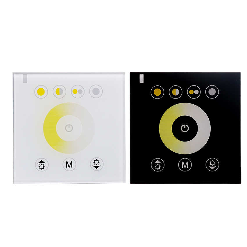 Controlador de Panel táctil blanco Dual CCT montado en la pared regulador de temperatura de color ajustable dimmer DC12V/24 V 12A para tira de LED CT