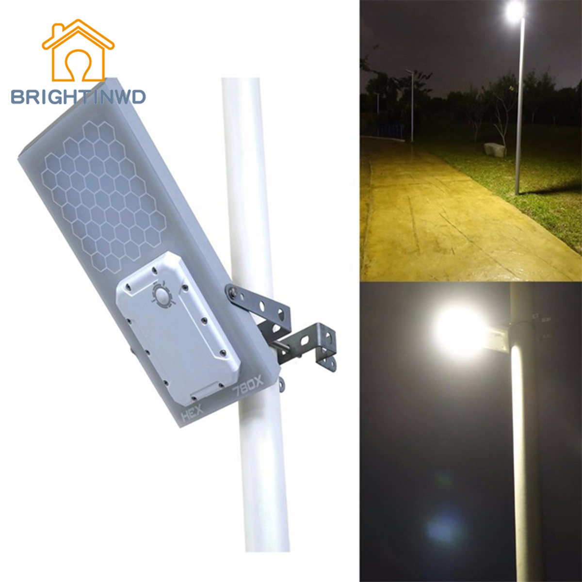 BRIGHTINWD Outdoor Light Warm White All in One Waterproof Day/Night Sensor 3 Power modes Solar Powered LED Street Light Solar solar powered 3 led white flashlight keychain silver