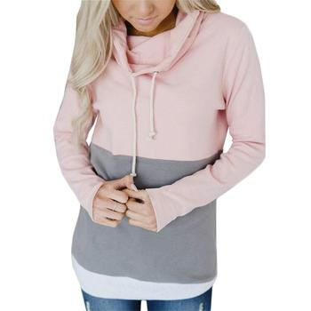 Autumn And Winter Color Matching Hooded Women's Shirt Ladies Jacket Sports Jacket Hoodies for Women, Sweatshirts for Women, Plus Size Hoodies, Women's Pullover Hoodies, Plus Size Sweatshirts
