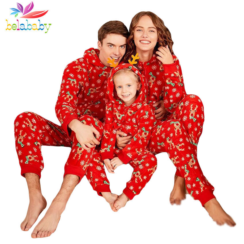 d6c94d2f45 Detail Feedback Questions about Belababy Family Matching Pajamas Long  Sleeve Hooded Family Look Father Mother Girls Clothing Print Red Mom Kid  Christmas ...