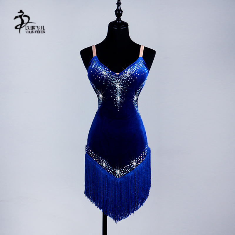 Ballroom Dance Competition Dresses/Women Ballroom Latin Rhythm Rumba Cha Salsa Dance Dress Black Fringe